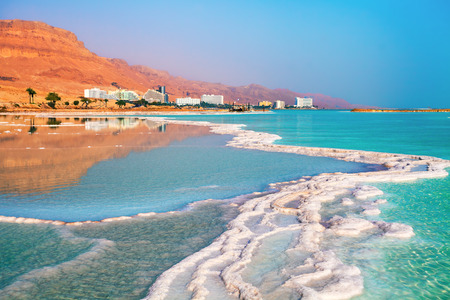 ein: Dead sea salt shore. Ein Bokek, Israel