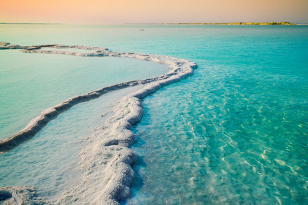 at sea: Dead sea salt shore