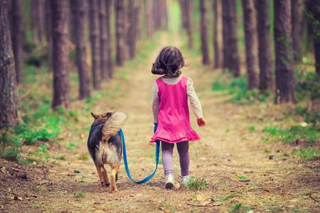 chien: Petite fille marchant avec un chien dans la for�t dos � la cam�ra