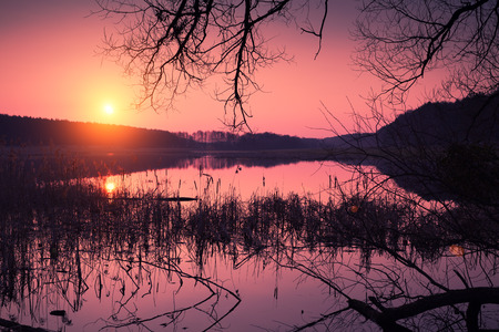 crick: Magical sunrise over lake Stock Photo