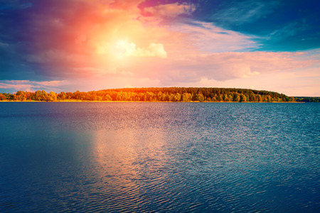 eventide: Sunset over big lake