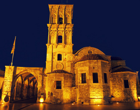 lazarus: Ancient church in Larnaka city on Cyprus in the night