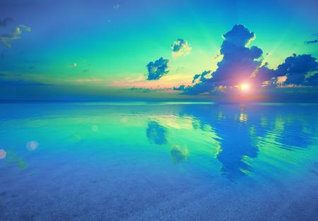 Early morning , sunrise over sea Imagens