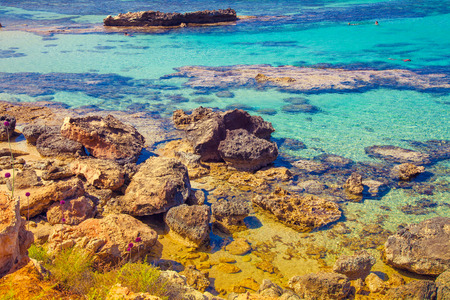 igneous: Igneous sea coast, Protaras city, Cyprus Stock Photo