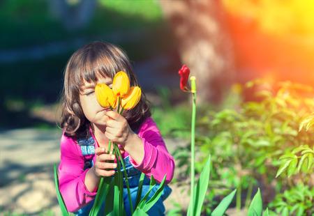 sniffing: Little girl sniffing tulip flower in the garden Stock Photo