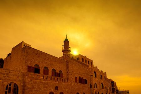 orange sunset: Golden sunset over old city Jaffa in Tel Aviv, Israel Stock Photo