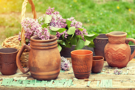 pottery: a set of pottery in the garden