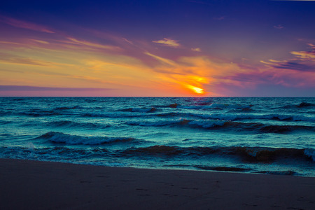 pink sunset: Beautiful pink sunset over sea