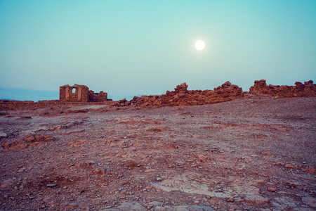 judaean desert: Night in Masada fortress in Judaean Desert Stock Photo
