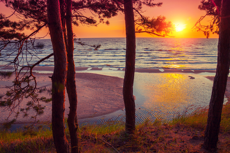 jurmala: Beautiful sunset over sea