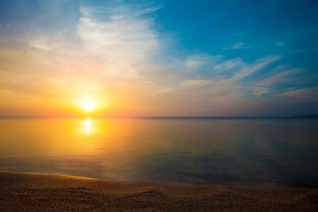 red morning: Sunrise over sea
