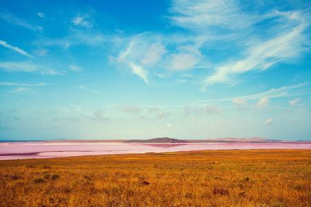 red pink: Pink lake in desert Stock Photo