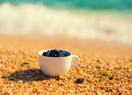 salt water: Dead sea mud for spa treatments in a cup on the beach