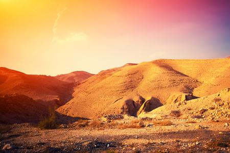 judean: Judean desert in Israel at sunset Stock Photo