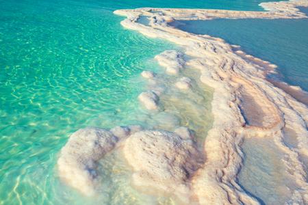 sal: La textura del mar muerto. Sal orilla del mar