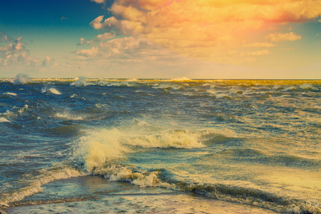 Merger of two seas. Cape Kolka, Latvia. Retro color correction Stock Photo - 52744956