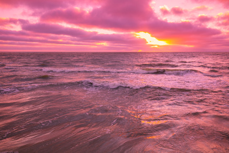pink sunset: Pink sunset over sea