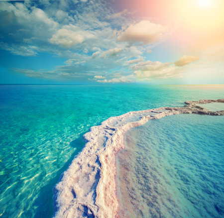 The path from the evaporated salt in the Dead Sea. Israel 写真素材