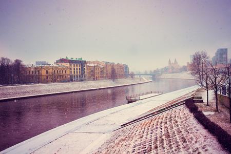 a blizzard: Embankment of Neman river in winter in blizzard, Vilnius, Lithuania