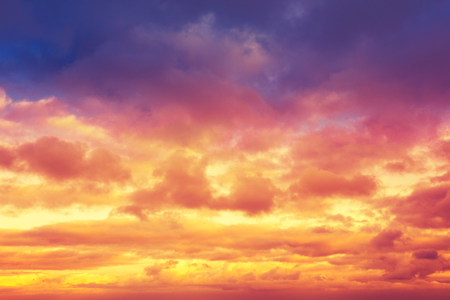 blue cloudy sky: Colorful cloudy sky at sunset Stock Photo