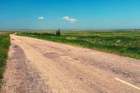 vastness: Road in the steppe Stock Photo