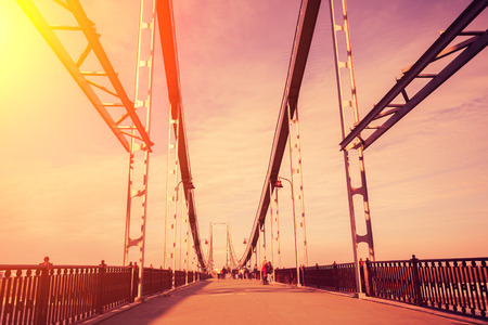 pedestrian bridge: Pedestrian bridge at sunset