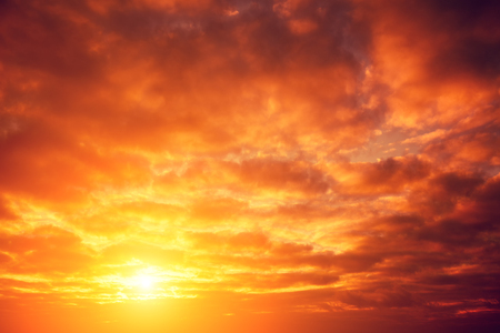 vermeil: Dramatic red cloudy sky at sunset