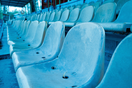lecture theatre: rows of blue chairs