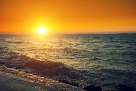 balaton: Sunset over lake Balaton, Hungary, Europe