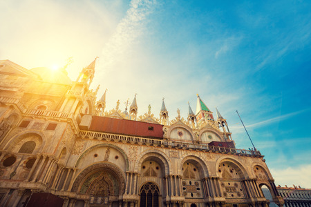 saint mark square: Cathedral of San Marco at sunrise, Venice, Italy. Stock Photo