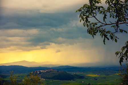 valdorcia: Tuscany valley in stormy weather, Italy