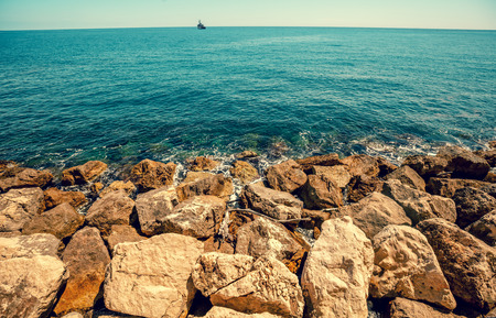 Rocky seashore. Cote d'Azur. French Riviera, Nice, France