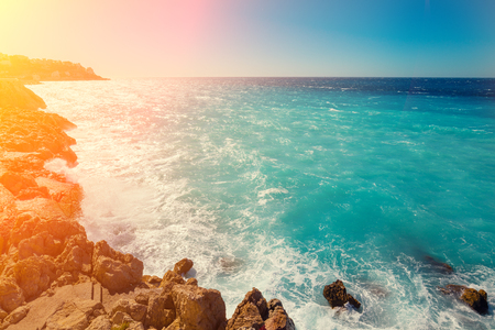 seashores: Rocky seashore. Cote dAzur. French Riviera, Nice, France