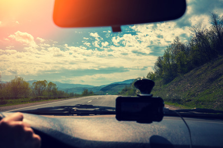 valdorcia: View from windscreen. Driving a car on mountain road