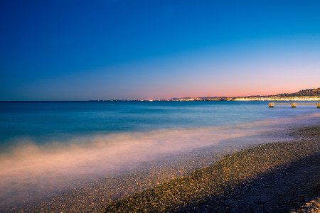 riviera: France riviera in the night. Nice, France Stock Photo