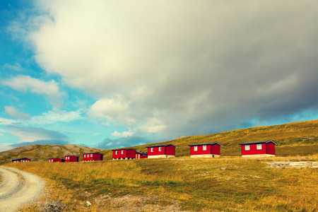 Typical wooden rorbu or fishermans houses in Norway