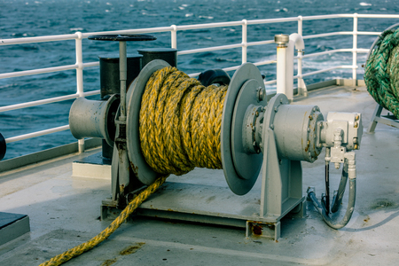 winch: winch on a deck of ship in the sea
