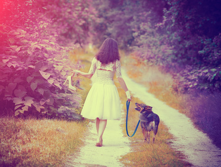 stile: Young bride wearing wedding dress walking barefoot with dog on rural road back to camera. Woman bring wedding shoes. Vintage color. Boho-chic stile Stock Photo