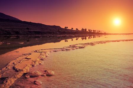 Sunrise over Dead Sea Stock Photo