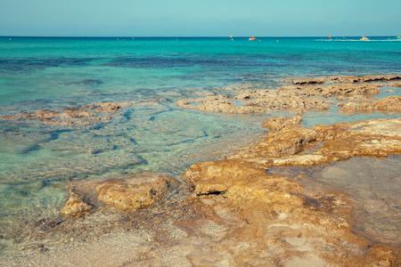 Rocky sea beach. Nature Cyprus Stock Photo