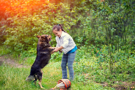 Little girl schooling dog outdoor in a forest. Girl holding a dog by the front paws. dog standing on its hind legs Stock Photo