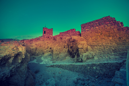 Ruins of King Herods palace in Judaean Desert.