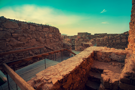 judaean desert: Masada fortress. Ruins of King Herods palace in Judaean Desert.