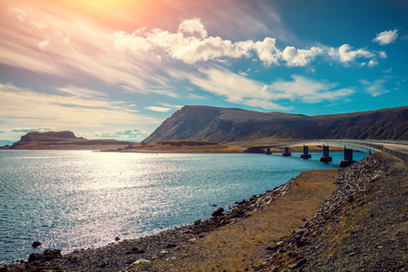 Panoramic view at fjord with bridge. Beautiful nature Norway. Arctic bay. Mageroya island. The way to Nordkapp