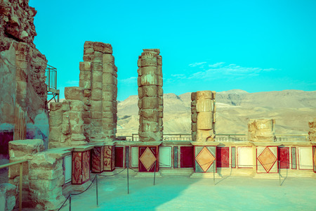 Abandoned place. The ruins of the palace of King Herods Masada. Israel.