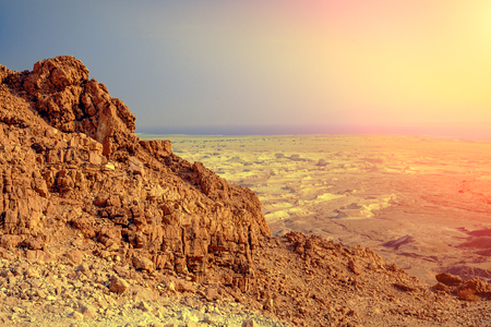 View from Masada, Israel. Mountain landscape at sunrise