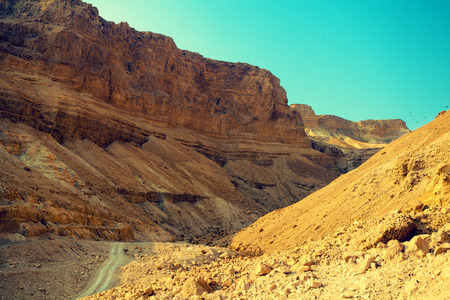 judaean desert: Mountain landscape with blue sky. Judaean Desert, Masada, Israel