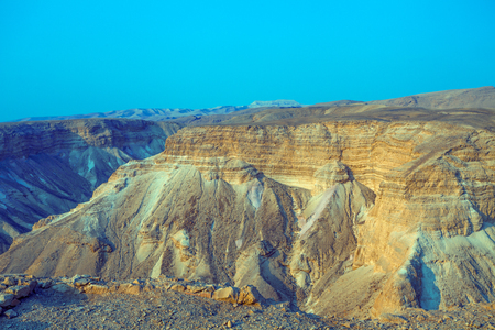 Mountain desert landscape. Nature Israel. Masada