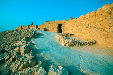 Ruins of King Herods palace in Judaean Desert. Mount Yair, Masada
