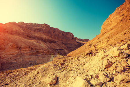 Mountain landscape with blue sky. Judaean Desert, Masada, Israel
